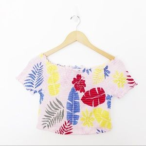 Tops - Flower Off The Shoulder Tube Top Crop Top Sz8